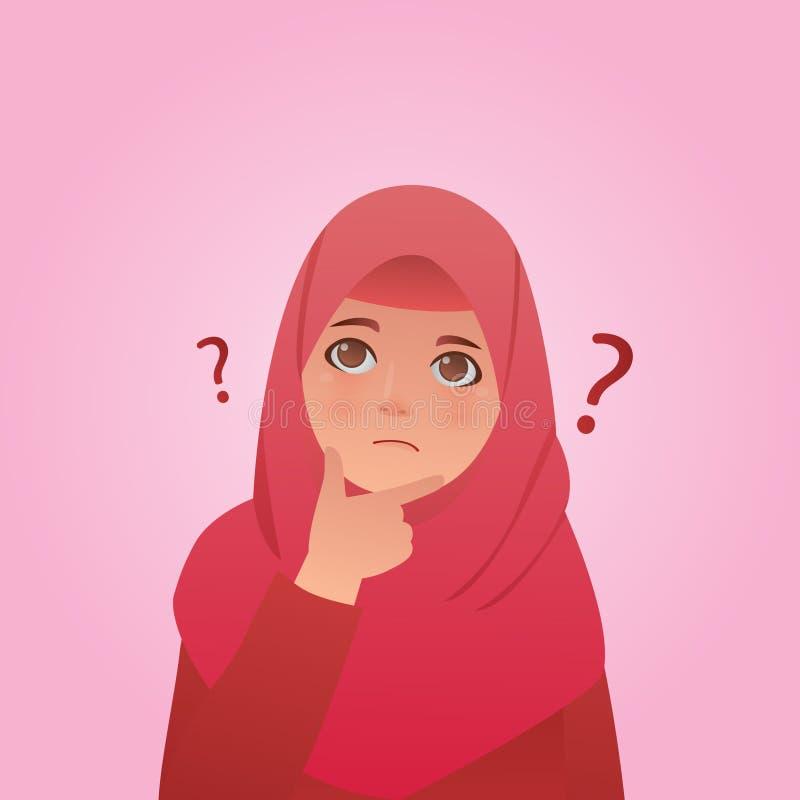 Mädchen-Verwirrungsausdruck, Karikatur-Vektor-Illustration vektor abbildung