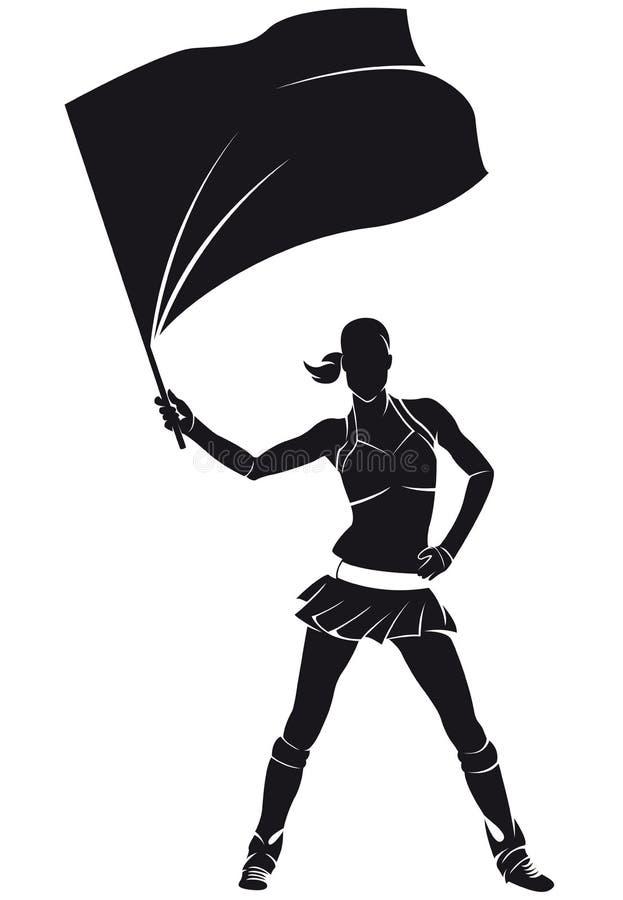 Mädchen vom Stützungskonsortium, Cheerleader mit Flagge lizenzfreie abbildung