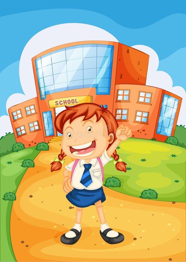 Download Mädchen vor Schule vektor abbildung. Illustration von beutel - 26352205