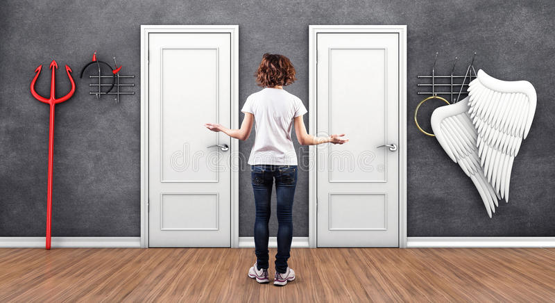 Mädchen vor Türen vektor abbildung
