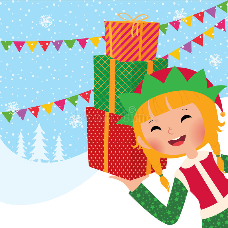 Mädchen-Weihnachtselfe mit Geschenken vektor abbildung