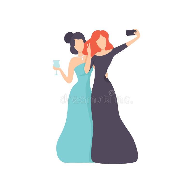 Mädchen, welche die Abend-Kleider machen Selfie-Foto auf Smartphone, schöne junge Frauen herstellen Foto oder Video für Sozial tr vektor abbildung