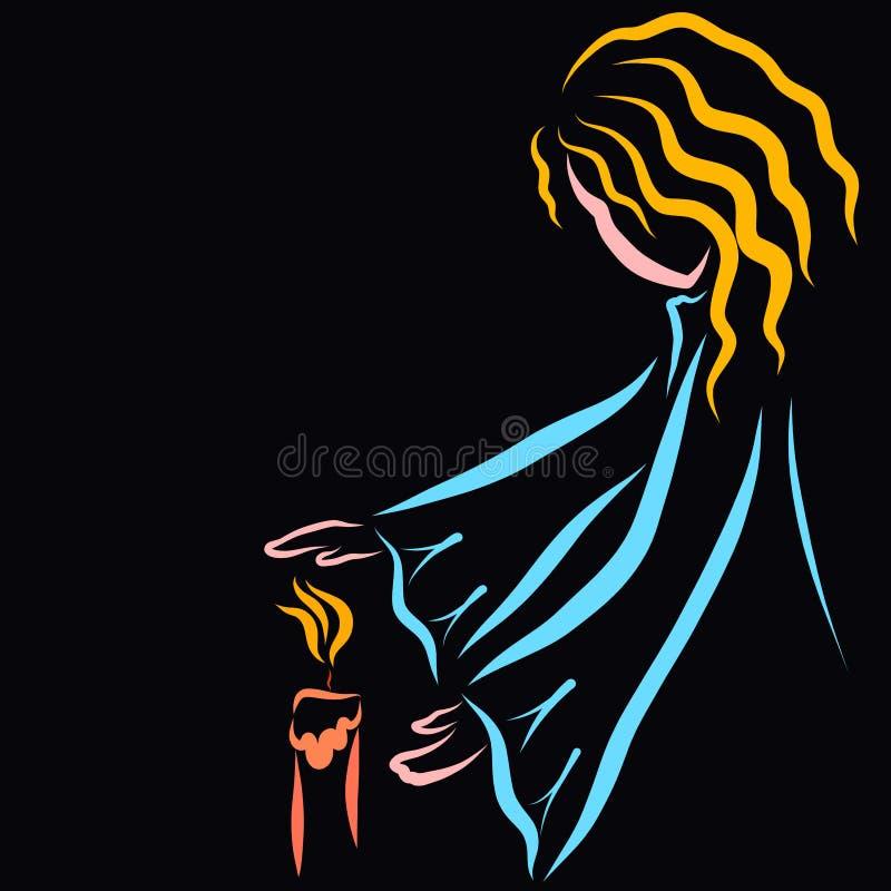Mädchen, welches die Flamme einer Kerze schützt oder Hände wärmt stock abbildung