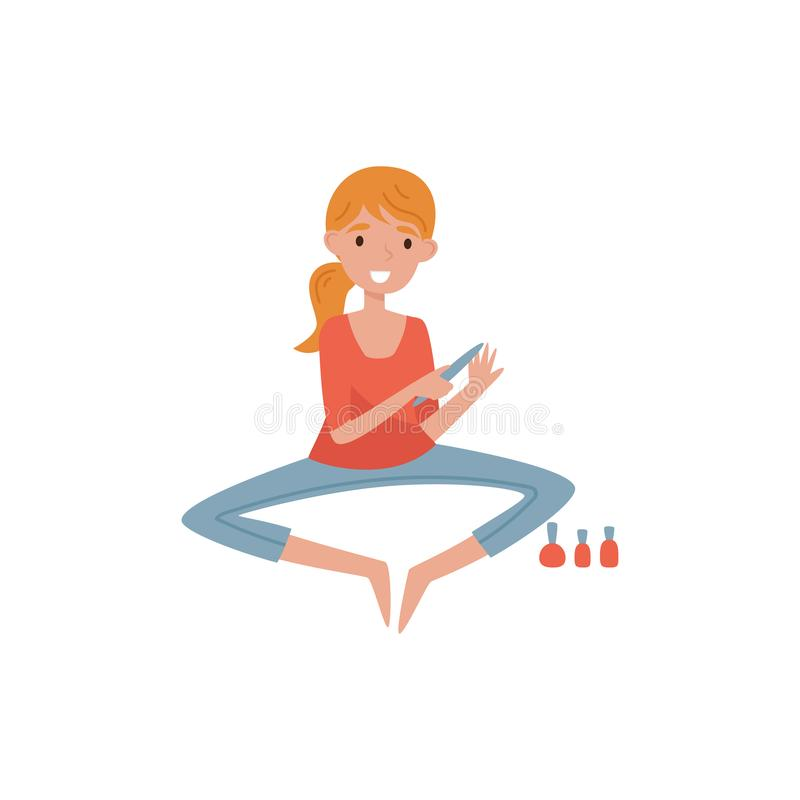 Mädchen, welches die Maniküre anwendet Nagellack, Schönheitsbehandlung, junge Frau nimmt Sorgfalt von Vektor Illustration auf a t vektor abbildung