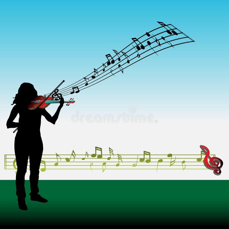 Mädchen, welches die Violine spielt stock abbildung