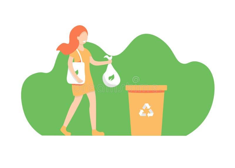 Mädchen wirft heraus den Abfall und sortiert Abfall, eco Tasche vektor abbildung