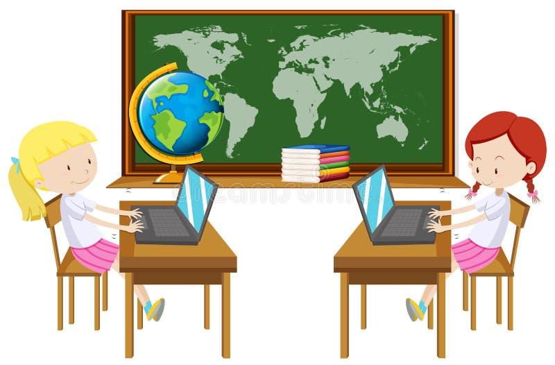 Mädchen zwei, das an Computer im Klassenzimmer arbeitet vektor abbildung
