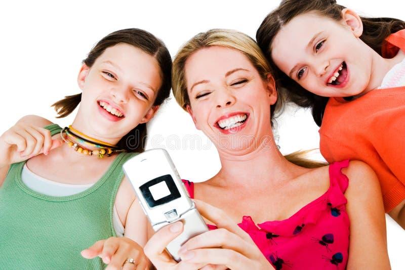 Mädchenabbildungnachrichtenübermittlung stockfotos
