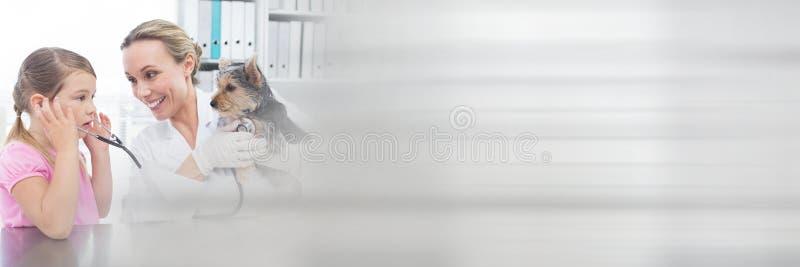 Mädchenameisen-Tierarztfrau, die einen kleinen Hund hält stockfotos