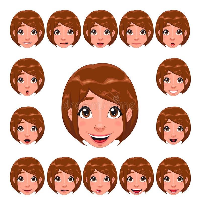 Mädchenausdrücke mit Lippensynchronisierung lizenzfreie abbildung