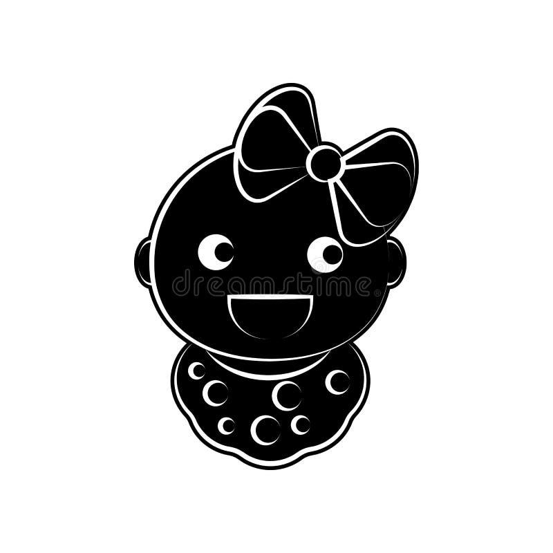 Mädchenbaby-Schellfischikone Element der Mutterschaft für bewegliches Konzept und Netz Appsikone Glyph, flache Ikone für Websitee stock abbildung
