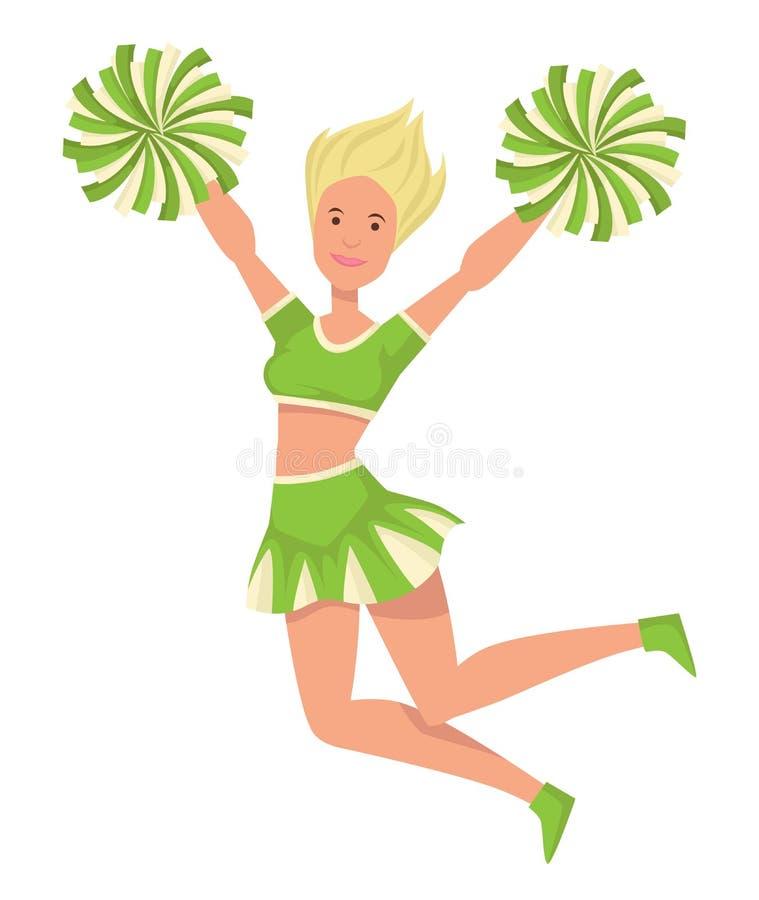 Mädchencheerleader in der Uniform mit den Pompoms, die lokalisierte weibliche Figur springen vektor abbildung