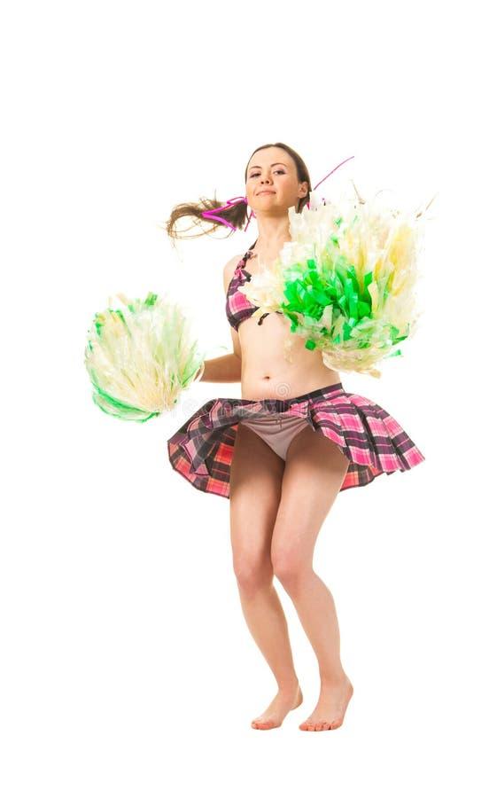 Mädchencheerleader springen stockbilder