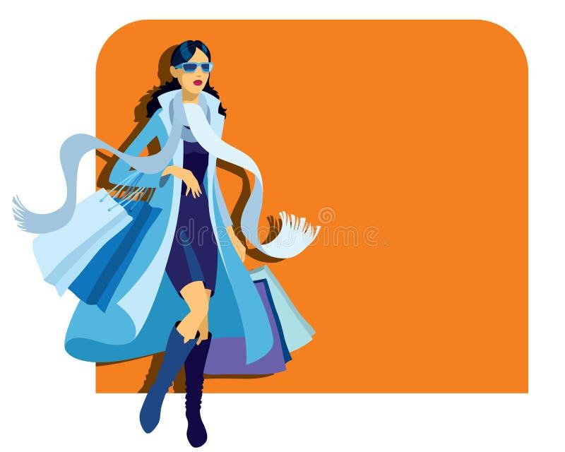 Mädcheneinkaufen vektor abbildung