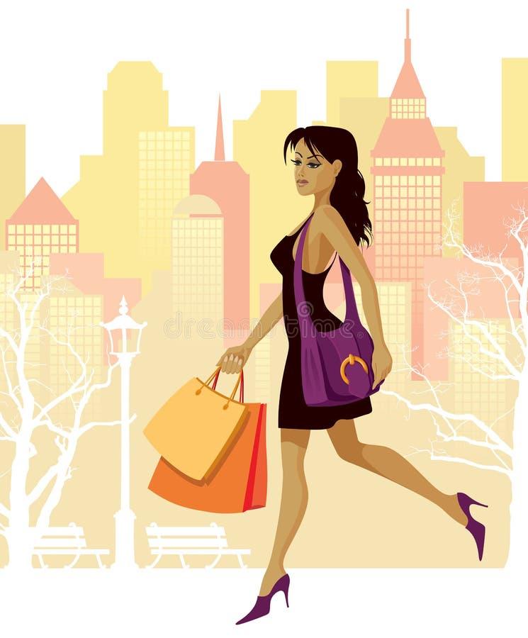 Mädcheneinkaufen stock abbildung