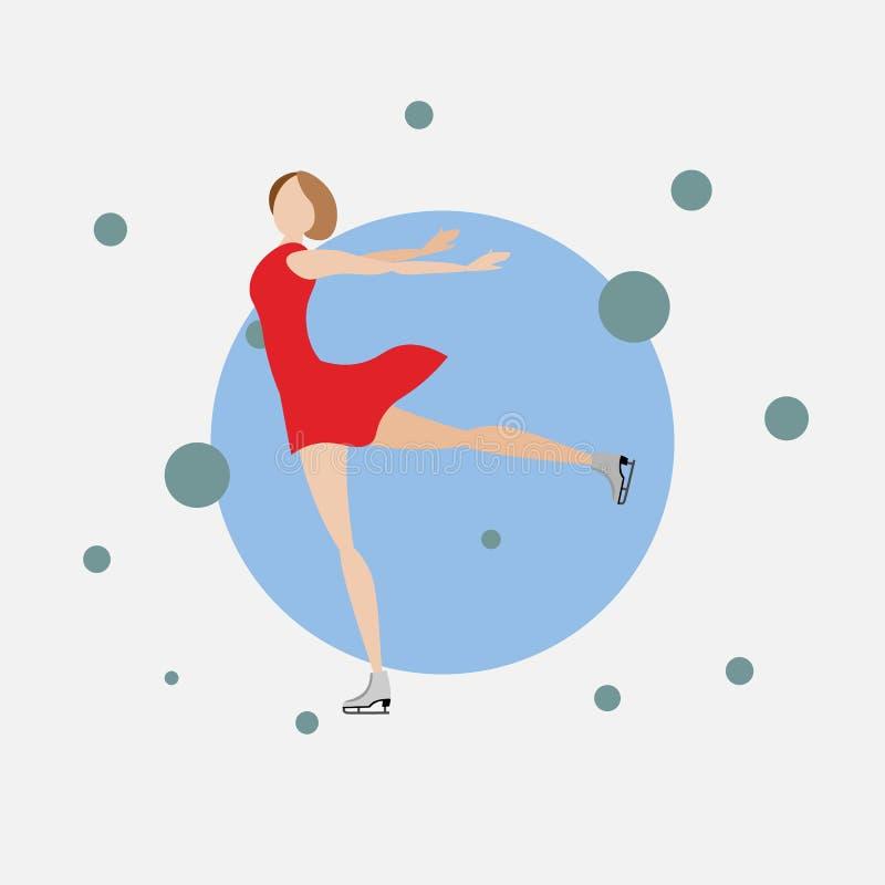 Mädcheneiskunstlauf auf Eisbahn Gehender Eiseislauf der schönen Frau Flache Art vektor abbildung