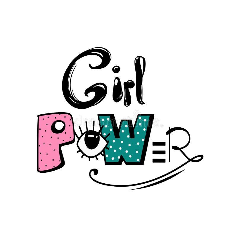 Mädchenenergie Feminismuszitat, Frauenmotivslogan Feministisches Sprechen Bunte gezeichnete Beschriftung des Spaßes Hand Vektor stock abbildung