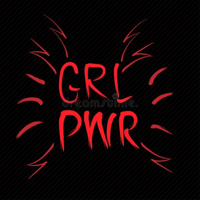 Mädchenenergiehandbeschriftungszeichen Schwarze Art Vektorillustration für T-Shirt vektor abbildung