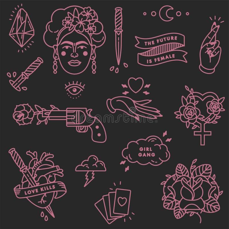 Mädchenenergiezitat Ikone stellte Modesymbol mit Porträt von Frida Kahlo, von Diamanten, von Rosen und von weiblichen Symbolen ei lizenzfreie abbildung