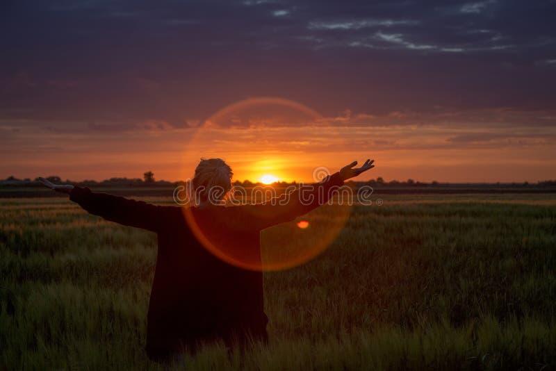 Mädchenfreiheitshände gestalten Sonnenuntergangfeld landschaftlich lizenzfreie stockfotografie