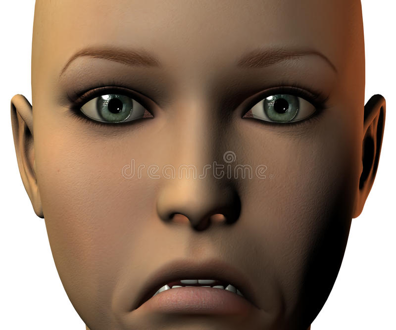 Mädchengesicht in 3D mit Gefühl lizenzfreie abbildung