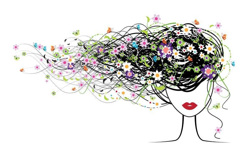 Mädchengesicht, Blumenfrisur vektor abbildung