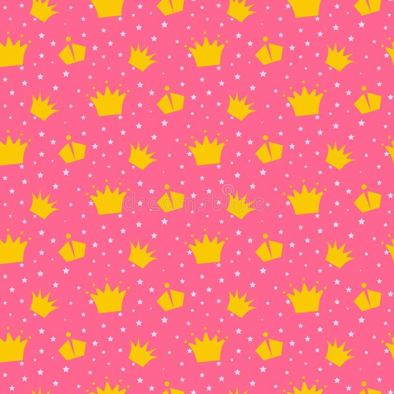 Mädchenhaftes rosa Muster mit Prinzessinkronen vektor abbildung