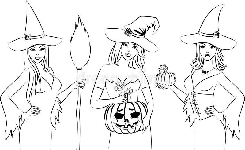 Mädchenhexe in der Halloween-Art. stock abbildung