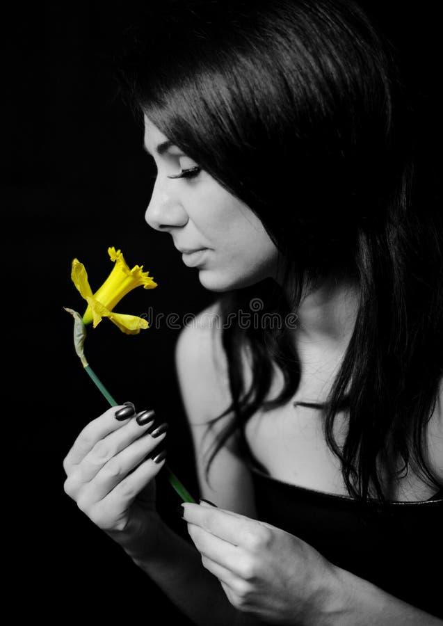 Mädchenholdingblume stockfotos