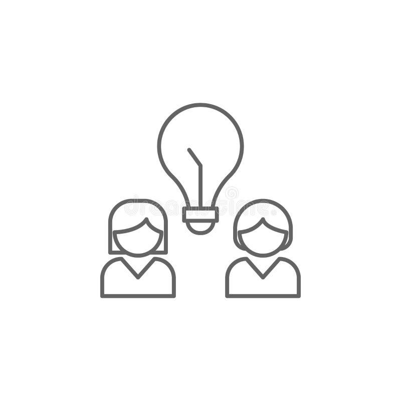 Mädchenideenfreundschafts-Entwurfsikone Elemente der Freundschaftslinie Ikone Zeichen, Symbole und s können für Netz, Logo, Mobil vektor abbildung