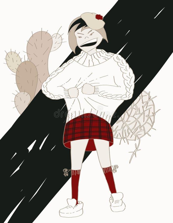 Mädchenjugendlicher verärgert, angekleidet in der juckenden Goodwillstrickjacke lizenzfreie abbildung