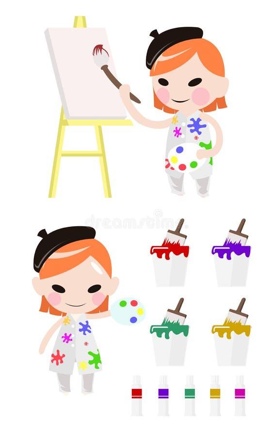 Mädchenkünstlermalerei auf Segeltuch mit Kunstversorgungs-Zeichentrickfilm-Figur-Entwurf lizenzfreie abbildung
