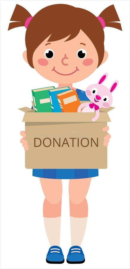 Mädchenkind, das eine Spielzeugkiste für Spenden hält lizenzfreie abbildung