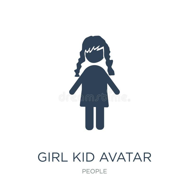 Mädchenkinderavataraikone in der modischen Entwurfsart Mädchenkinderavataraikone lokalisiert auf weißem Hintergrund Mädchenkinder lizenzfreie abbildung