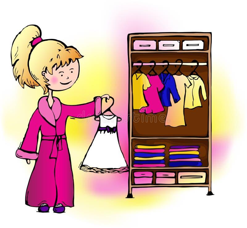 Mädchenkleid hängt im Wandschrank lizenzfreie abbildung