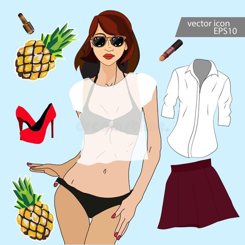 Mädchenkleidung für Frühling und Sommer vektor abbildung