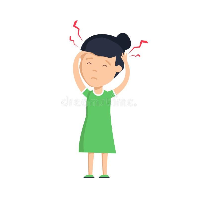 Mädchenkopfschmerzen Unglückliches frustriertes Mädchen, das schmerzlichen Blick, Gesicht verziehend hat und leiden unter Migräne stock abbildung