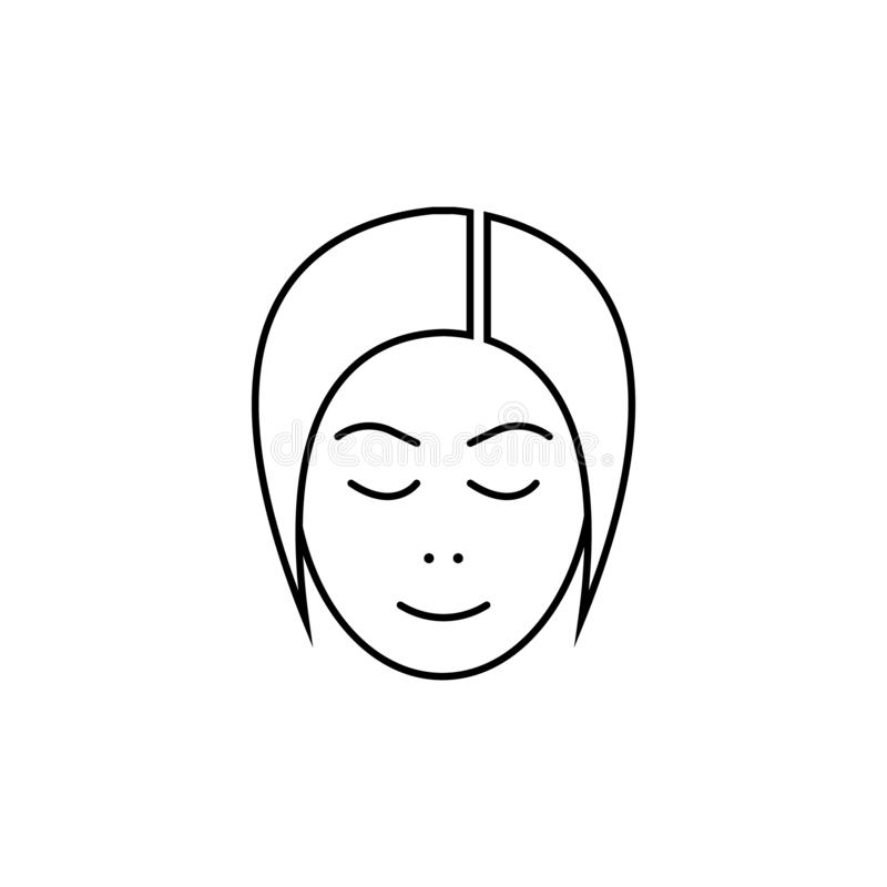 Mädchenkopfvektorlinie Ikone Benutzermädchen Damenavatarazeichen vektor abbildung
