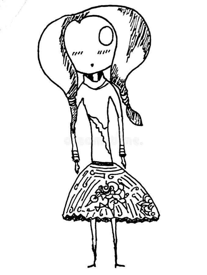 Mädchenkunstgekritzel stockbilder