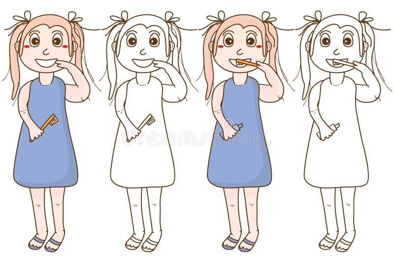 Mädchenlächelnzahn-Bürstenfarbton stock abbildung