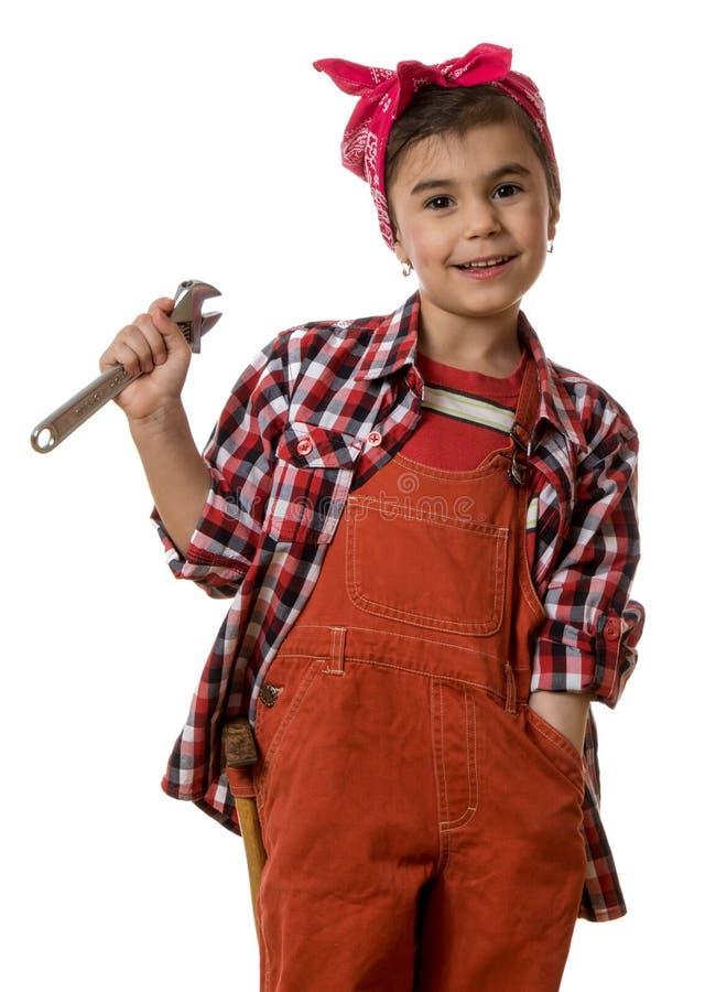 Mädchenmechaniker stockfoto