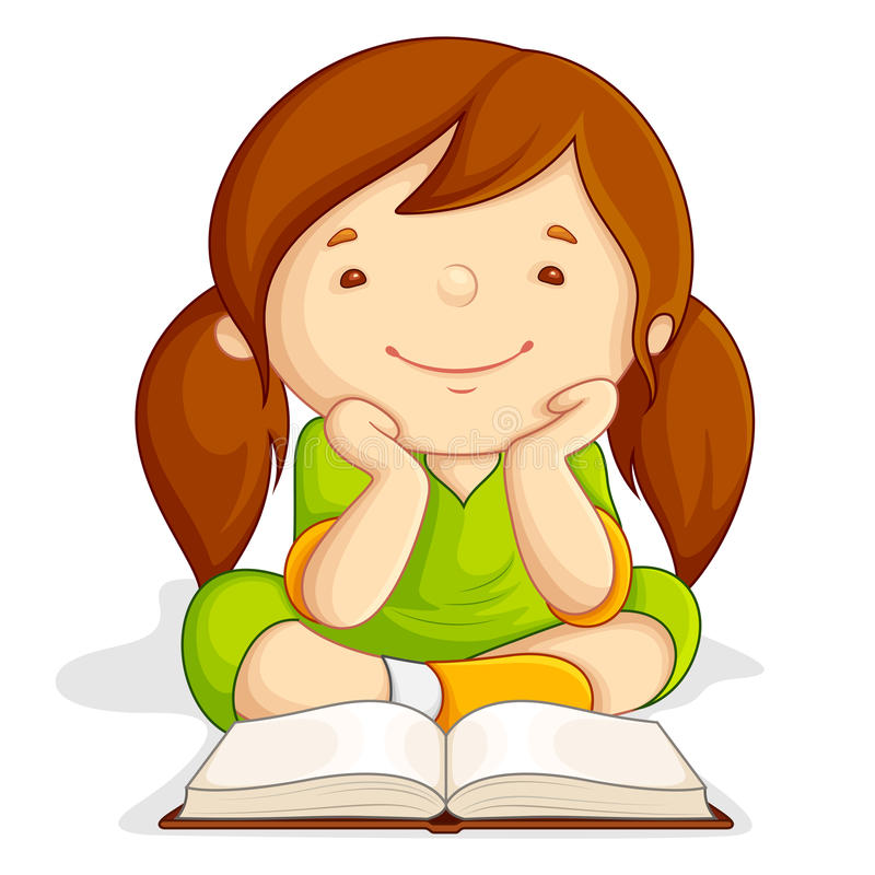 Mädchenmesswertgeöffnetes Buch vektor abbildung