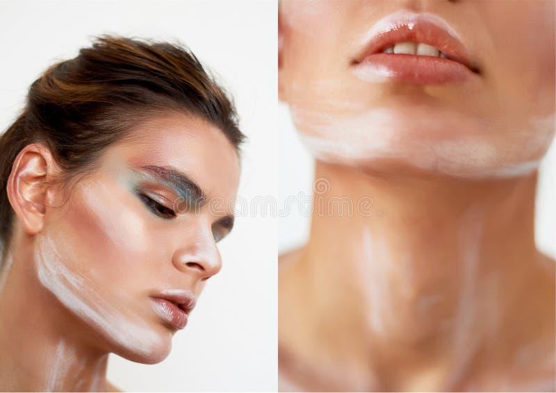 Mädchenmodell mit kreativem Make-up, Farbenanschläge auf dem Gesicht Kreative Person Lebende Skulptur Durchdachter Blick prall stockfotos