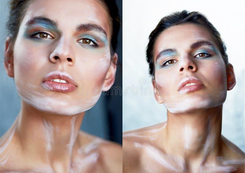Mädchenmodell mit kreativem Make-up, Farbenanschläge auf dem Gesicht Kreative Person Lippen angelehnt, Kopf etwas zurück geworfen lizenzfreie stockbilder