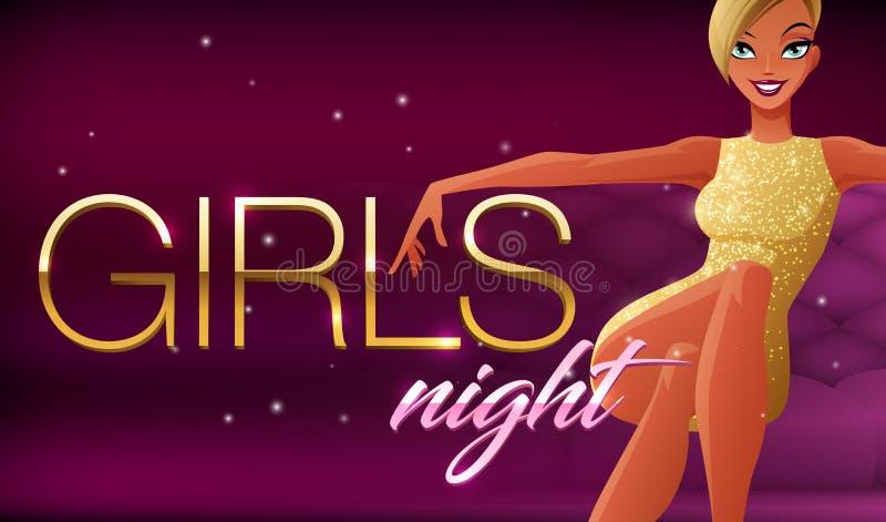 Mädchennachtfahne Schöne bezaubernde junge Frau, die im Nachtclubaufenthaltsraum sitzt Vektorillustration auf dunklem Hintergrund lizenzfreie abbildung