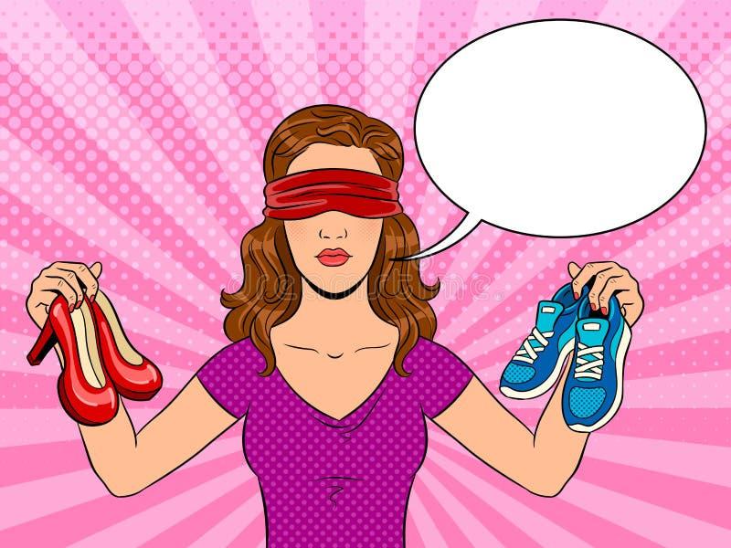 Mädchenpop-arten-Vektorillustration mit verbundenen Augen stock abbildung