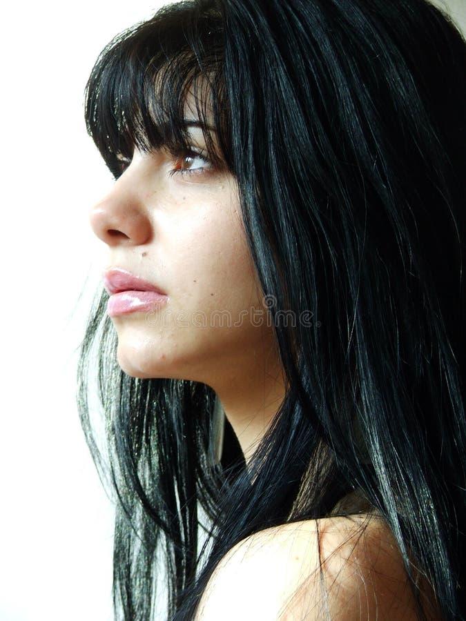 Mädchenprofil stockbild
