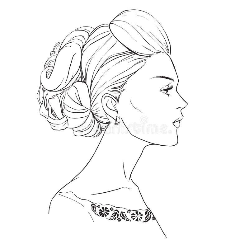 Mädchenprofil mit dem schönen Haar stock abbildung