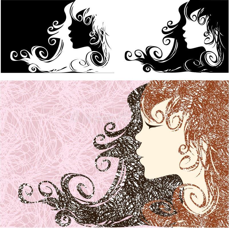Mädchenprofil mit dem schönen langen Haar vektor abbildung