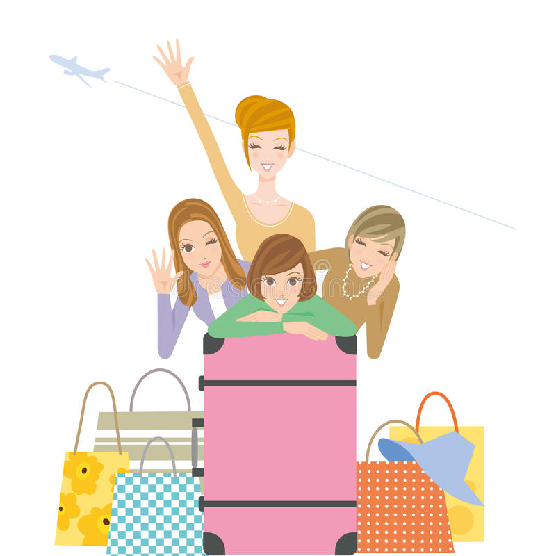 Mädchenreise lizenzfreie abbildung